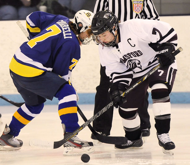 Alicia Steeves (#7 Chelmsford) wins the faceoff draw against Leah Cardarelli (#7 Acton-Boxboro)