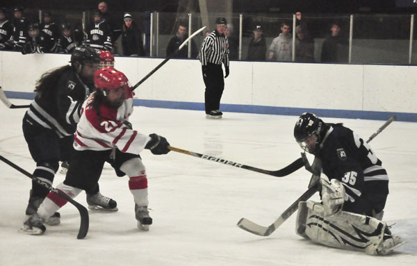 NOBLES GOALIE Casey Nunnally robs St. Paul's Miriam Eickhoff from close range.