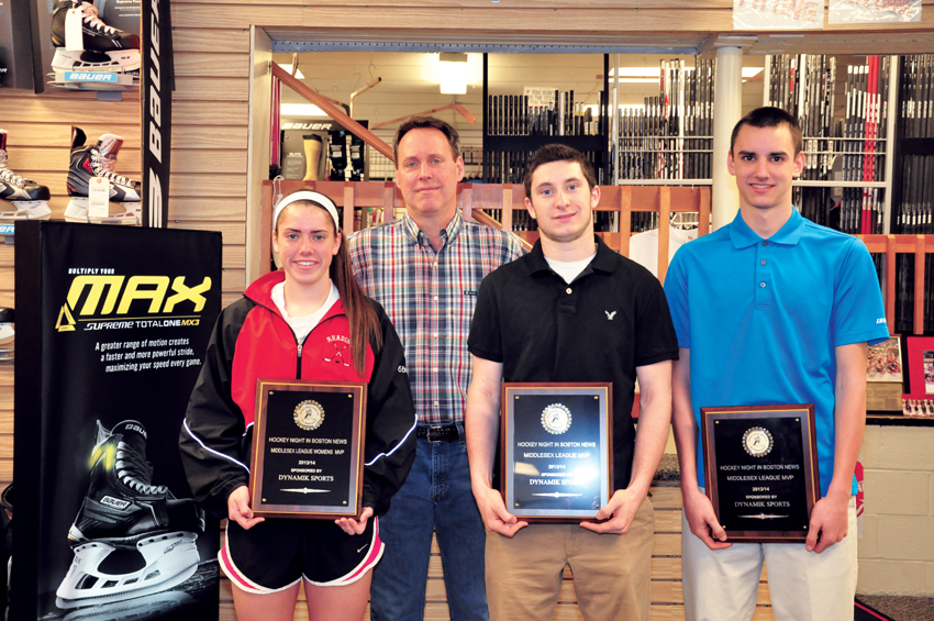 DYNAMIK SPORTS 2013-2014 award winners (l to r) Reading's Ali O'Leary, Winchester's Nolan Redler and Wilmington's Drew Foley received award plaques from Dynamik Sports owner Mark Doherty.