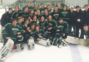 BROOKS celebrates its Holiday Tournament championship after 4-2 win over Tilton.