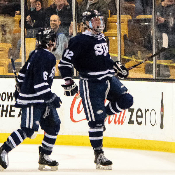 TEDDY McNAMARA celebrates his second period goal that gave the Eagles a 1-0 lead. (Photo by Jamie Callery)